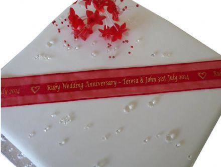 Red Organza personalised ribbon for Ruby Wedding Anniversary 38mm